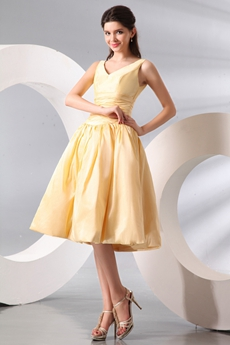 Simple V-neckline Knee Length Yellow Wedding Guest Dress