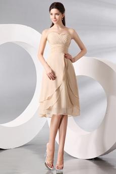 Elegance Sweetheart A-line Knee Length Champagne Wedding Guest Dress