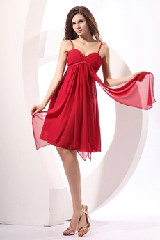Stunning Spaghetti Straps Empire Red Chiffon 8th Grade Graduation Dress