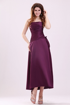 Modest Strapless Tea Length Grape Colored Satin Wedding Guest Dress