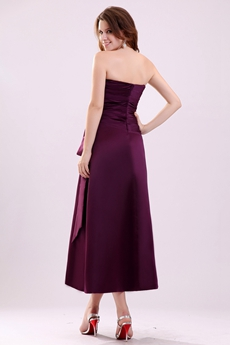 Modest Strapless Tea Length Grape Colored Satin Wedding Guest Dress