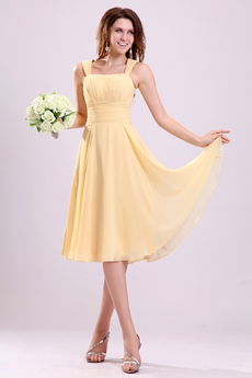 Affordable Double Straps Knee Length Yellow Chiffon Junior Bridesmaid Dress
