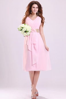Beautiful V-Neckline A-line Tea Length Pink Junior Bridesmaid Dress