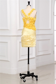 Cute Yellow Junior Homecoming Dresses With Floral