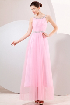 Cute Straps Column Pink Tulle Junior Prom Party Dress