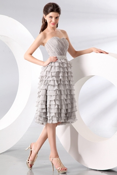 Sophisticated Sweetheart Neckline Puffy Tea Length Silver Gray Junior Prom Dress With Ruffles