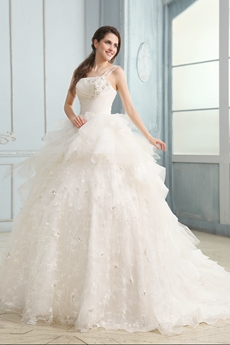Romantic One Shouler Princess Lace Wedding Dress