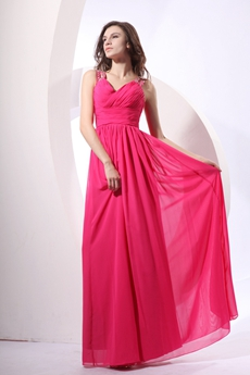 Pretty V-neckline Full Length Hot Pink Bridesmaid Dress