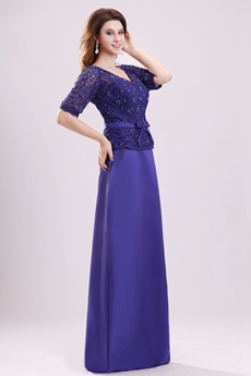 Beautiful V-Neckline Half Sleeves Royal Blue Mother Of The Bride Dress With Lace