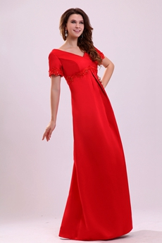 Modest Short Sleeves V-Neckline Column Long Red Mother Dress