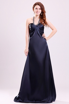 Elegant Top Halter A-line Dark Navy Satin Evening Dress Cut Out