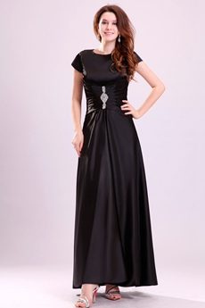 Ankle Length Short Sleeves Black Satin Mother Of The Bride Dress