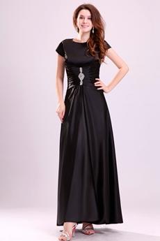 Ankle Length Short Sleeves Black Satin Mother Of The Bride Dress