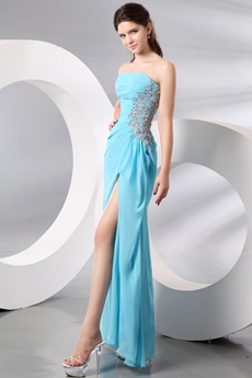 Sassy Strapless Ankle Length Blue Cocktail Dress High Slit