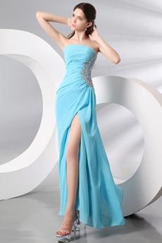 Sassy Strapless Ankle Length Blue Cocktail Dress High Slit