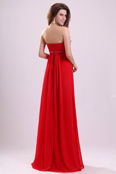 Fitted Strapless Empire Floor Length Red Chiffon Maternity Evening Dress