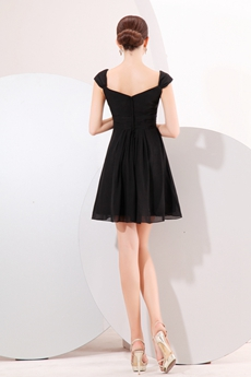 Affordable Cap Sleeves Chiffon Little Black Dress