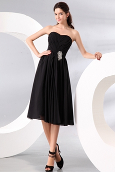 Tea Length Chiffon Little Black Prom Party Dress