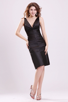 Deep V-Neckline Column Knee Length Black Cocktail Dress