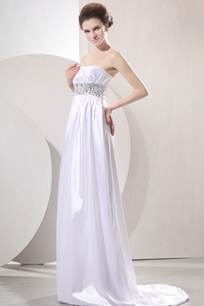 Dazzling Strapless Empire Full Length Satin Maternity Wedding Dress