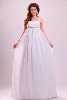 Grecian Top Halter Empire Floor Length White Chiffon Maternity Wedding Gown