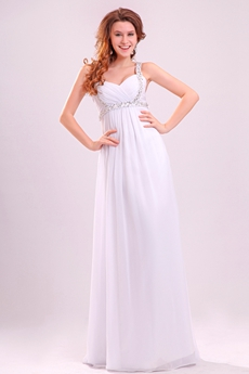 Affordable Double Straps Empire Floor Length White Chiffon Maternity Wedding Gown