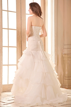 Fantastic Strapless White Organza Mermaid Wedding Dress Corset Back