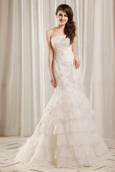 Trendy Strapless Neckline Fishtail/Mermaid Lace Wedding Dress Corset Back