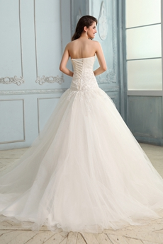 Flattering Strapless Dropped Plus Size Wedding Dress With Lace Appliques
