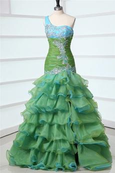 Multi-Colored One Shoulder Trumpet Green & Blue Sweet Sixteen Dress
