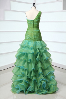 Multi-Colored One Shoulder Trumpet Green & Blue Sweet Sixteen Dress