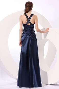 Inexpensive Straps Column Full Length Navy Blue Mother Of The Bride Dress