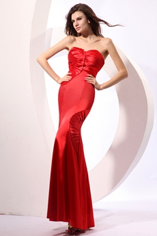Impressive Shallow Sweetheart Sheath Red Satin Evening Dress