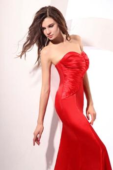 Impressive Shallow Sweetheart Sheath Red Satin Evening Dress