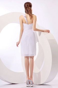 Graceful One Shoulder White Cocktail Dress