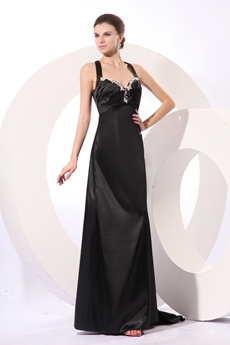 Sexy Crossed Straps Back Black Satin Prom Pageant Dress