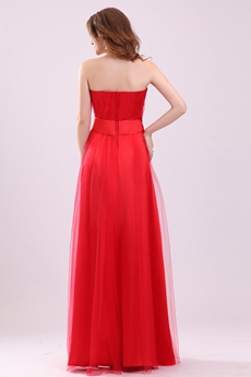 Pretty Sweetheart A-line Red Tulle Full Length Junior Prom Gown