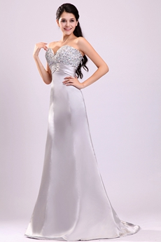 Sweetheart A-line Long Length Silver Pageant Prom Dress With Rhinestones