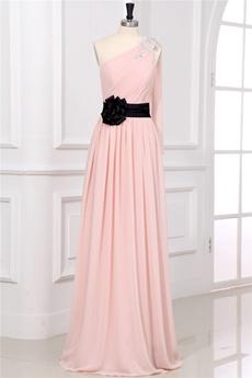 Beautiful Pink One Shoulder Online Evening Dresses