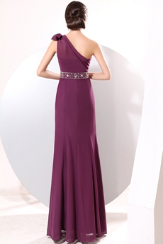 Terrific One Shoulder Column Full Length Grape Chiffon Bridesmaid Dress
