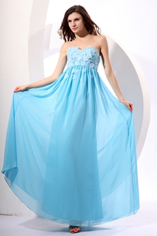 Sassy Sweetheart Ankle Length Blue Graduation Dress For College