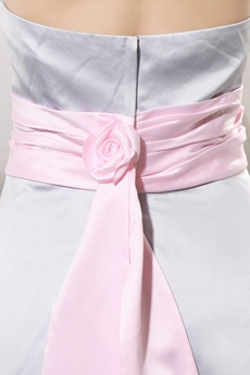 Modest Halter A-line Silver Gray Prom Dress With Pink Sash