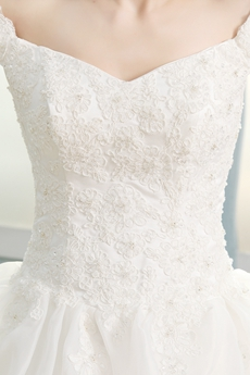 Inexpensive Off The Shoulder Organza Princess Wedding Dress With Lace