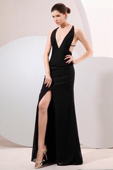Hot Deep V-Neckline Black Chiffon Sexy Evening Dress High Slit