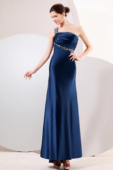 One Straps Ankle Length Dark Navy Junior Prom Dress Keyhole Back