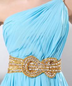 Sassy One Shoulder Long Chiffon Blue Evening Dress Front Slit