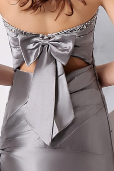 Newest Top Halter A-line Full Length Silver Grey Satin Evening Dress