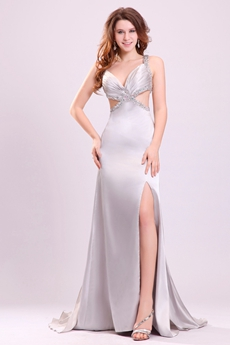 Hot Low-Cut Sweetheart A-line Silver Satin Informal Evening Dress