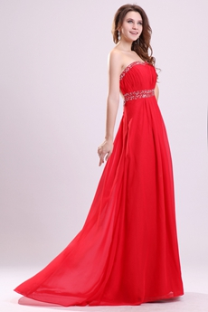 Shallow Sweetheart A-line Red Chiffon Evening Dress Backless