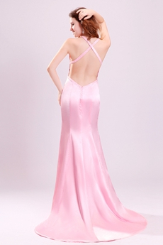 Sexy Straps A-Line Floor Length Pink Evening Dress Backless
